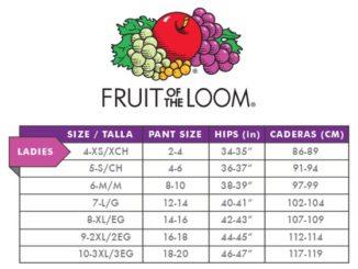 Fruit Of The Loom – rozmiarówka