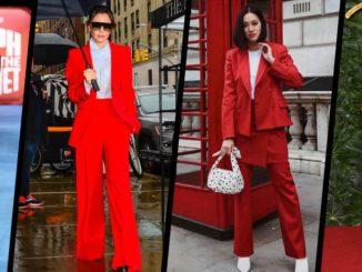 Trendy: czerwony garnitur. Zobacz stylizacje gwiazd!