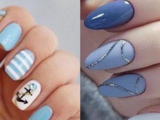 Niebieskie paznokcie w różnych odcieniach